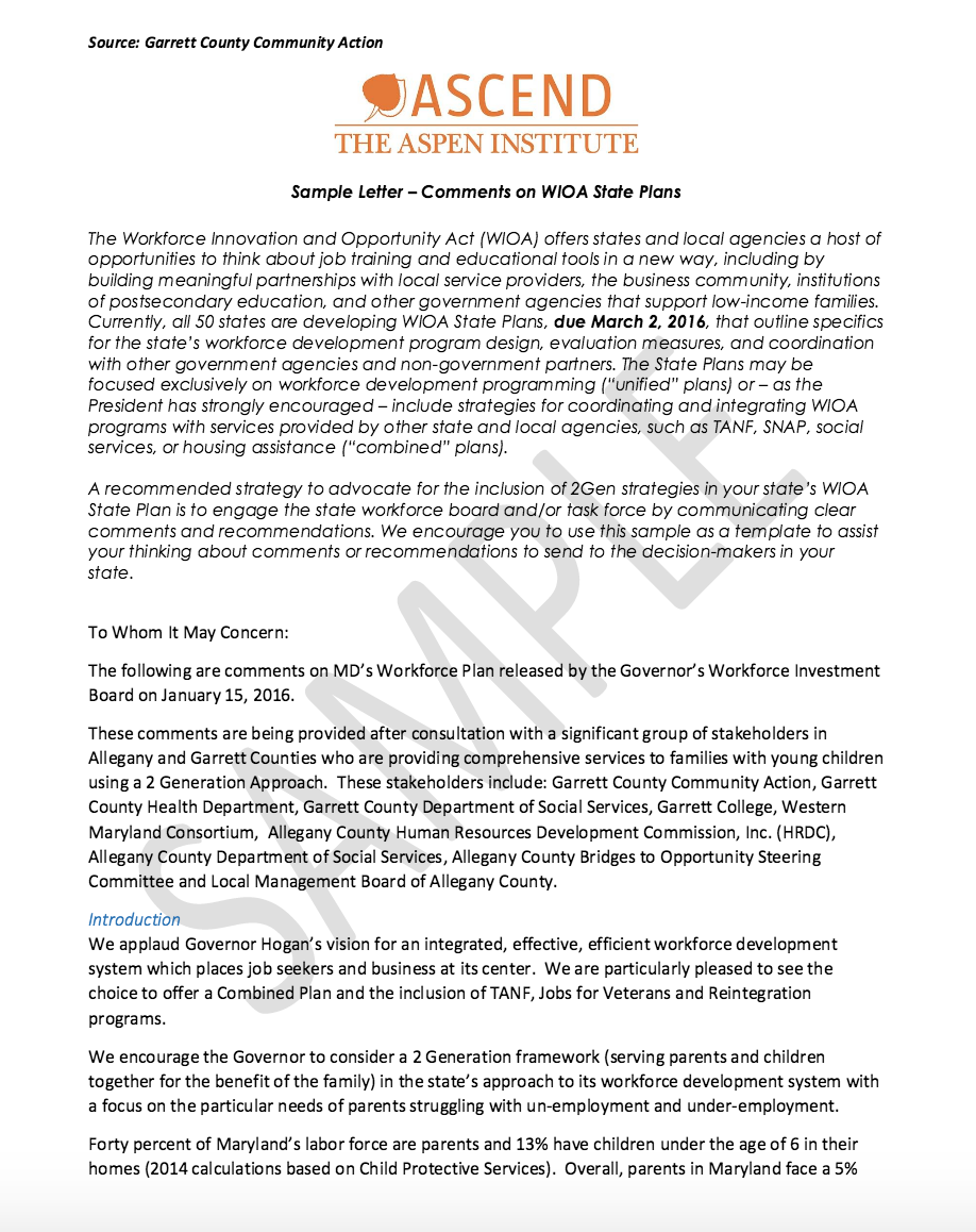 sample letter for comments for 2016 wioa state plans ascend at the aspen institute