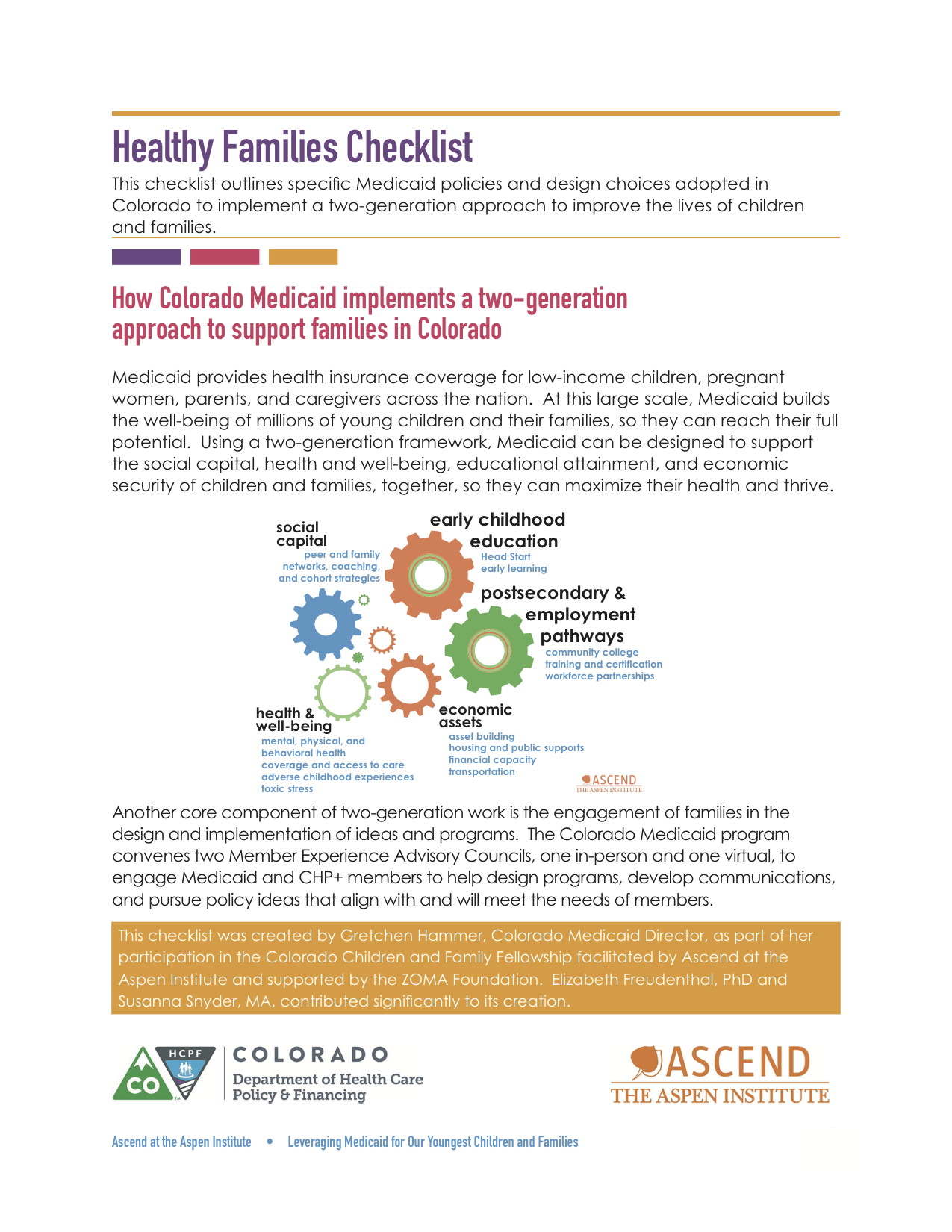 Healthy Families Checklist | Ascend at the Aspen Institute